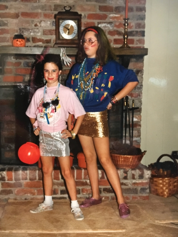 Halloween 1987. Laser focused on the prize. Kid sister in tow.