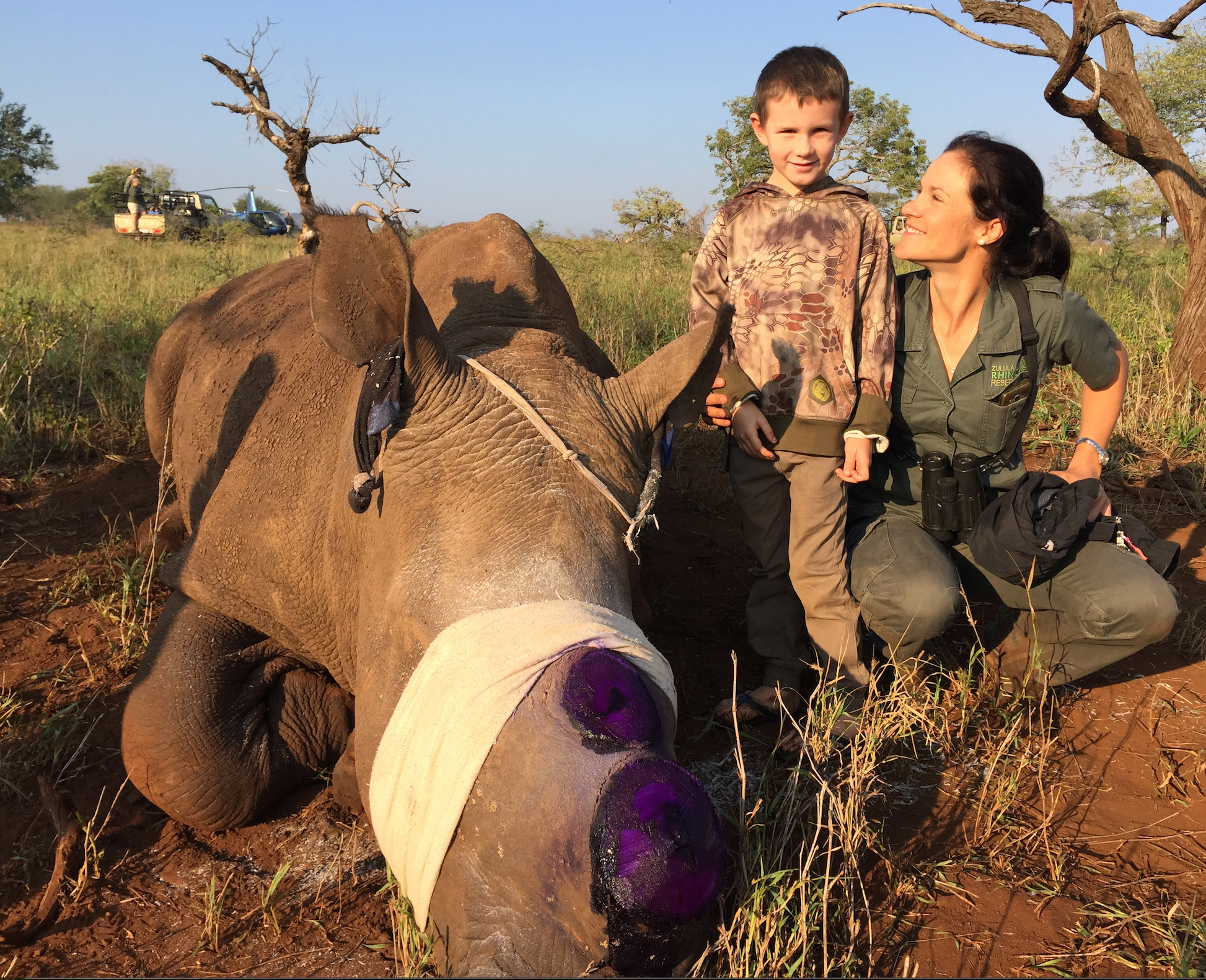 My son Trail with one of Africa's true wildlife heroes, Karen Holmes, with a freshly dehorned rhino. I am so blessed to be able to give my kids the opportunity to truly see Africa for what it really is, the good and the bad. But they will only realize when they get older how special a moment like this with someone like her truly is. Thank you Karen and all the wildlife heroes out there. Indeed you are helping make sure our kids will also get to enjoy the outdoors as we do.