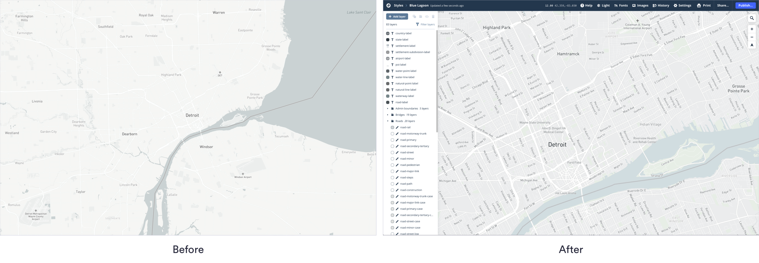 MapBox only gives an option for a Light mode and a Dark mode out of the box. For RoadCode, with all the layers we would be adding, I wanted a solution better aligned with our needs so I customized everything on the map.