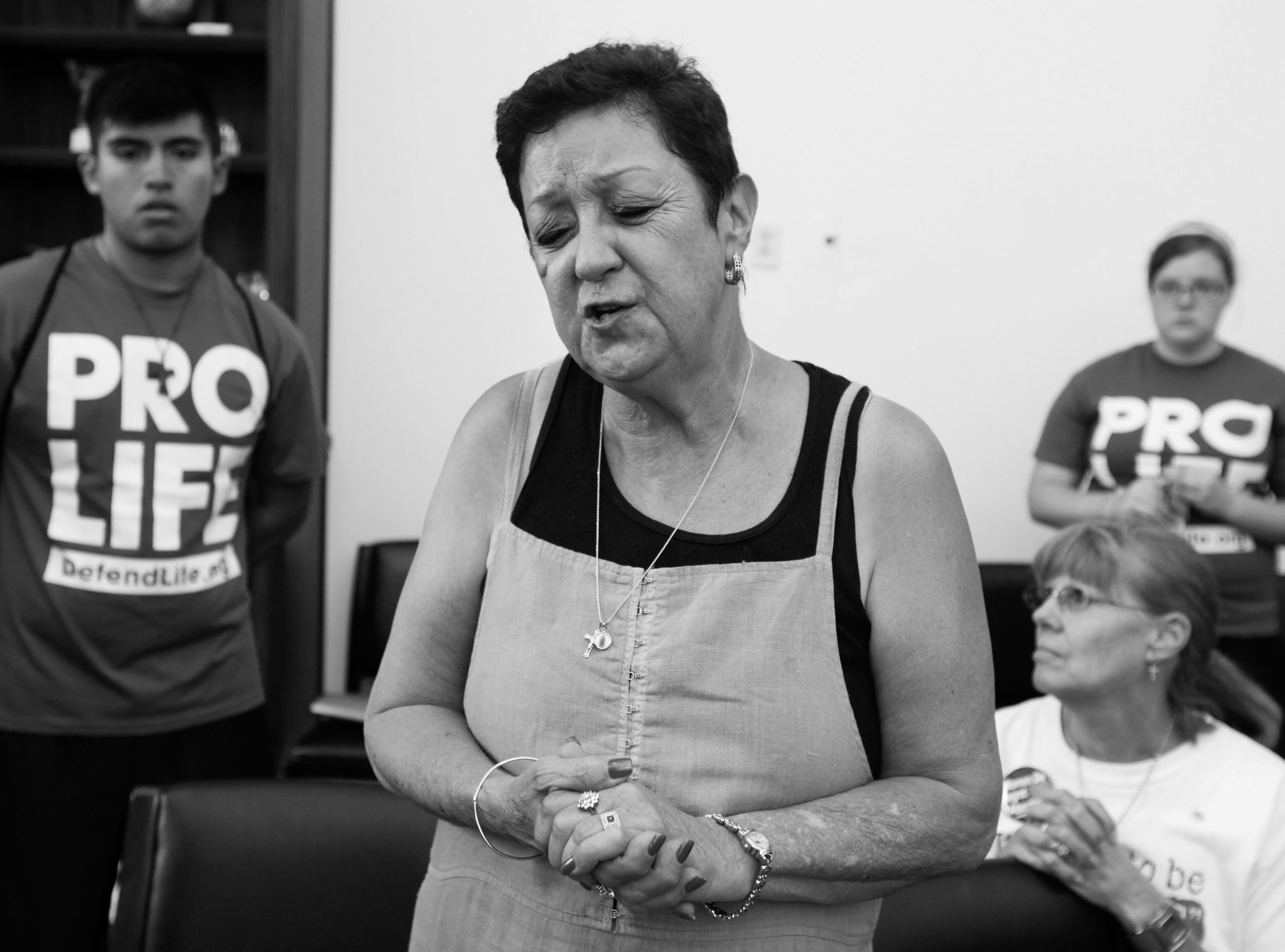 Norma speaks up as she joins other anti-abortion demonstrators inside the office of House Speaker Nancy Pelosi in Washington on July 28, 2009.