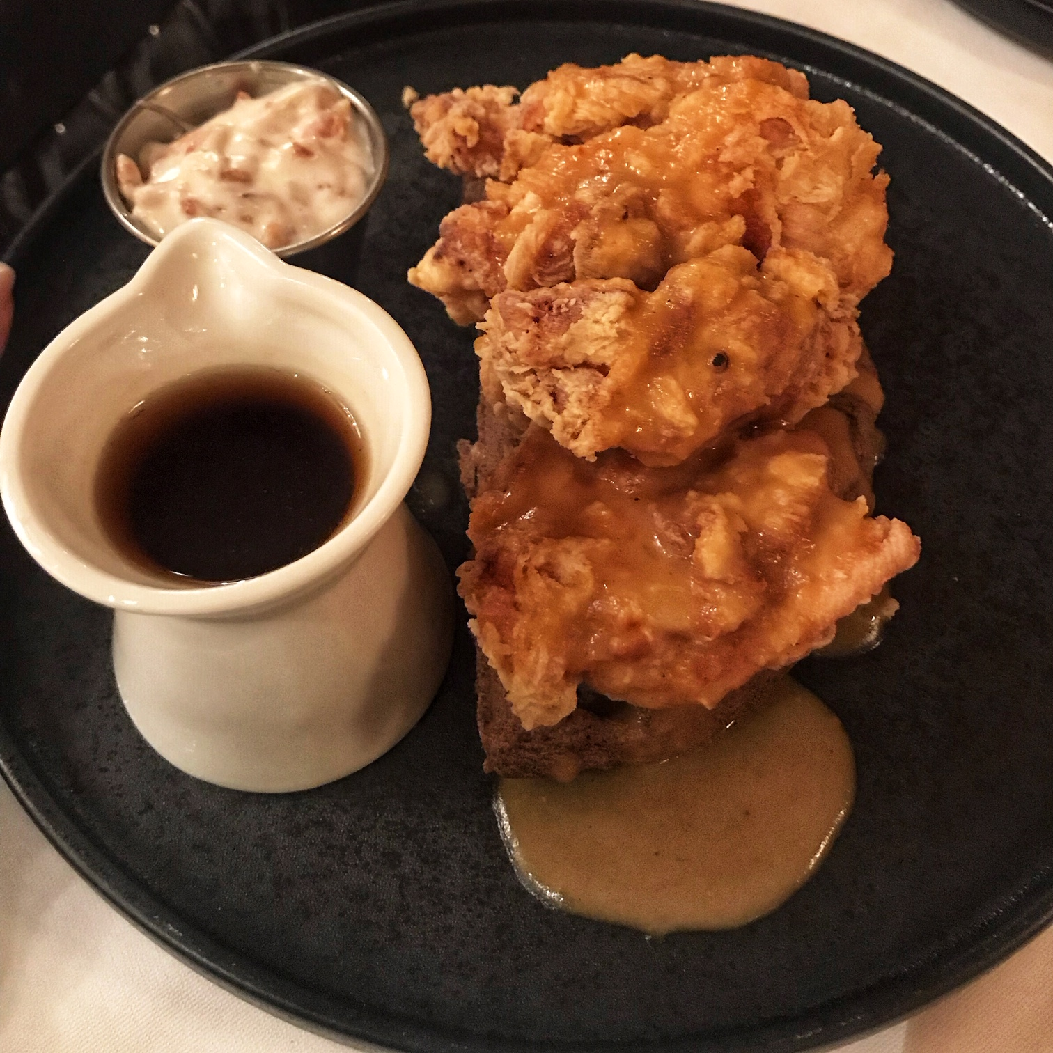 chicken & waffles, buttermilk and spiced maple syrup