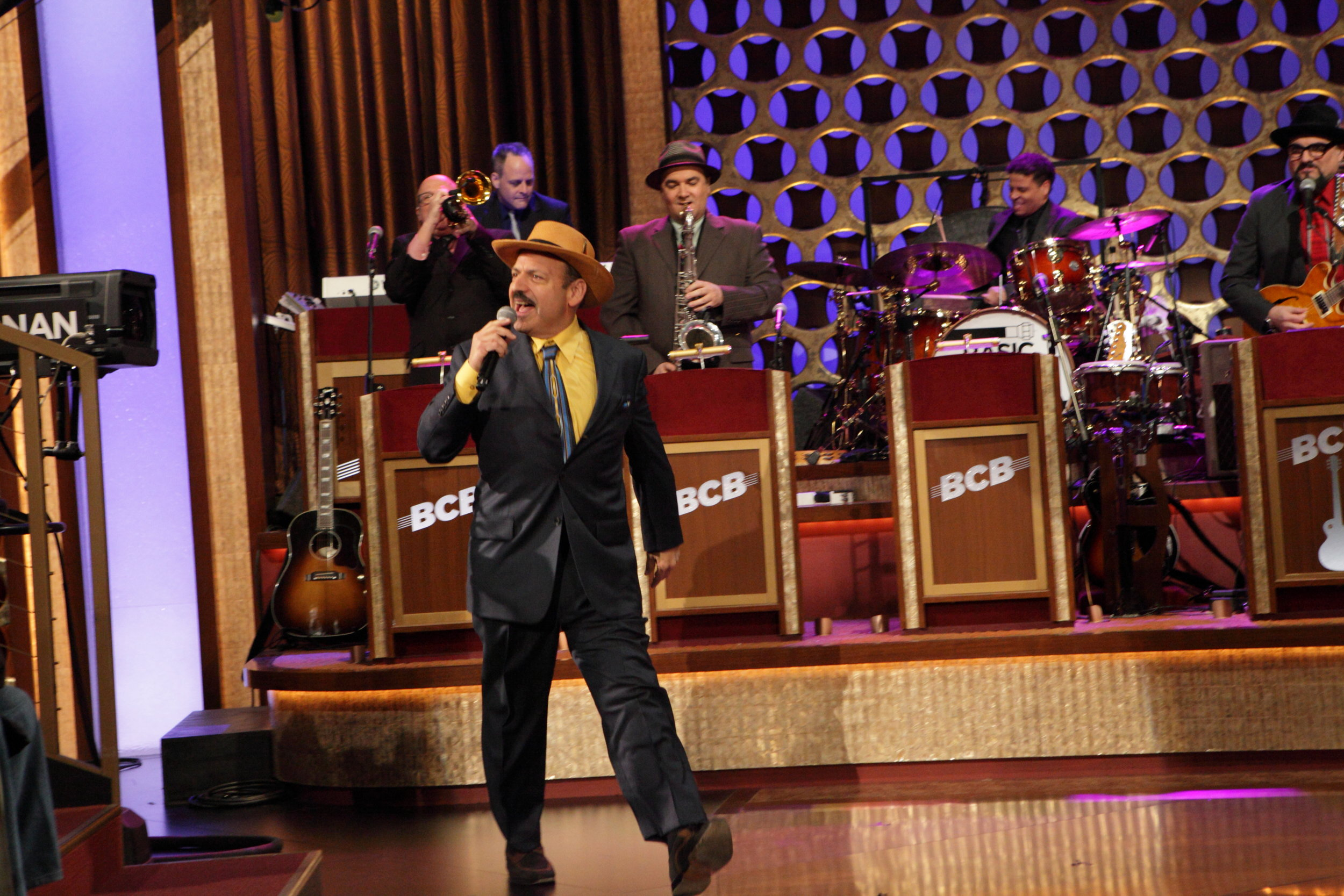 LaBamba singing - with his bandmates in the Basic Cable Band, on Conan