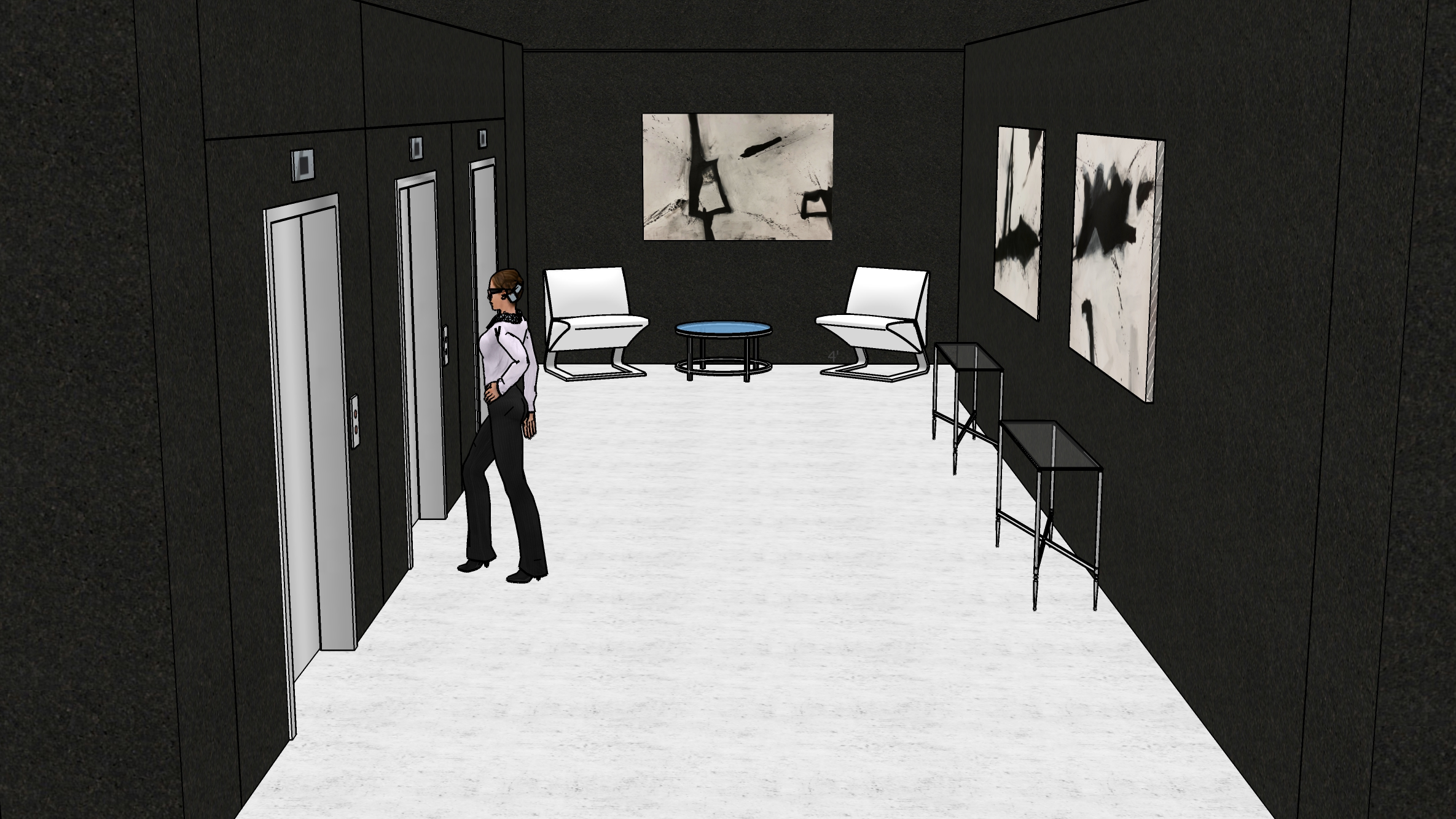 Set sketch - all built around a functioning elevator piece.