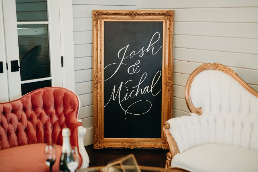 Tall Gold Chalkboard