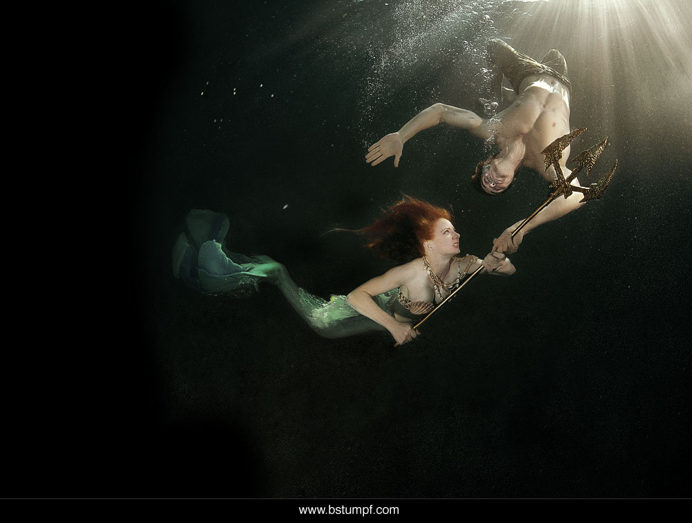 Virginia Hankins Mermaid with Pirate Paul Suda Underwater Trident Fight Scene.jpg
