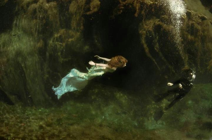 Virginia Hankins Mermaid Attacking SCUBA Diver under water.jpg