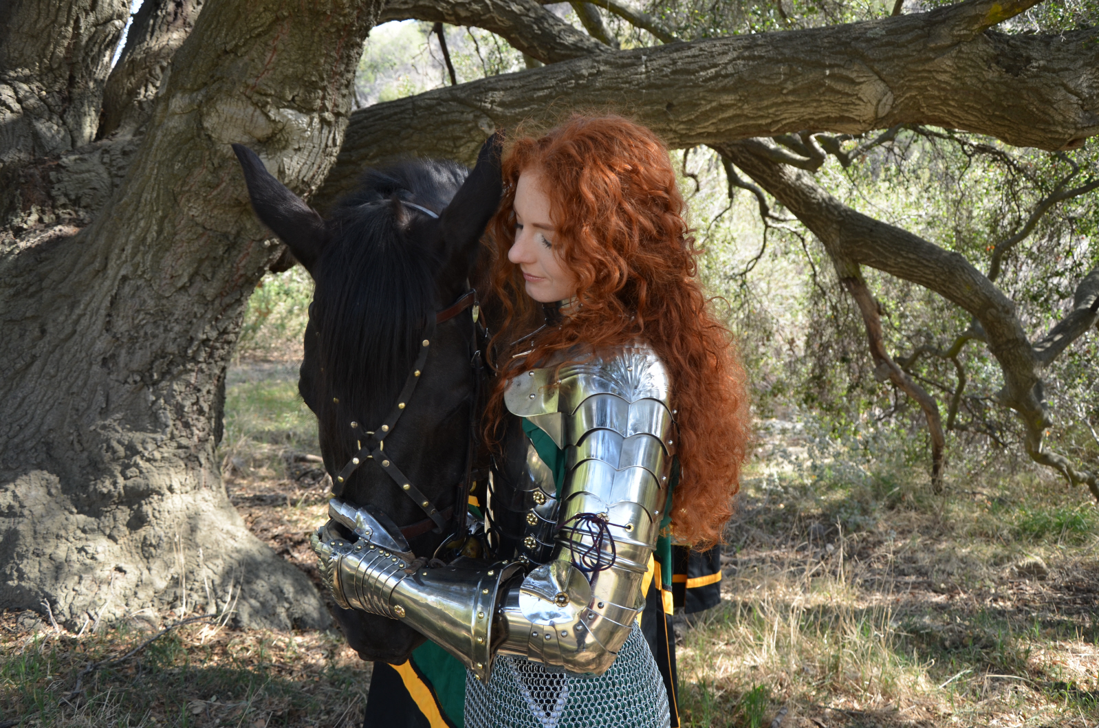 Virginia Hankins Knight with Black Azteca Horse Casanova 2.JPG
