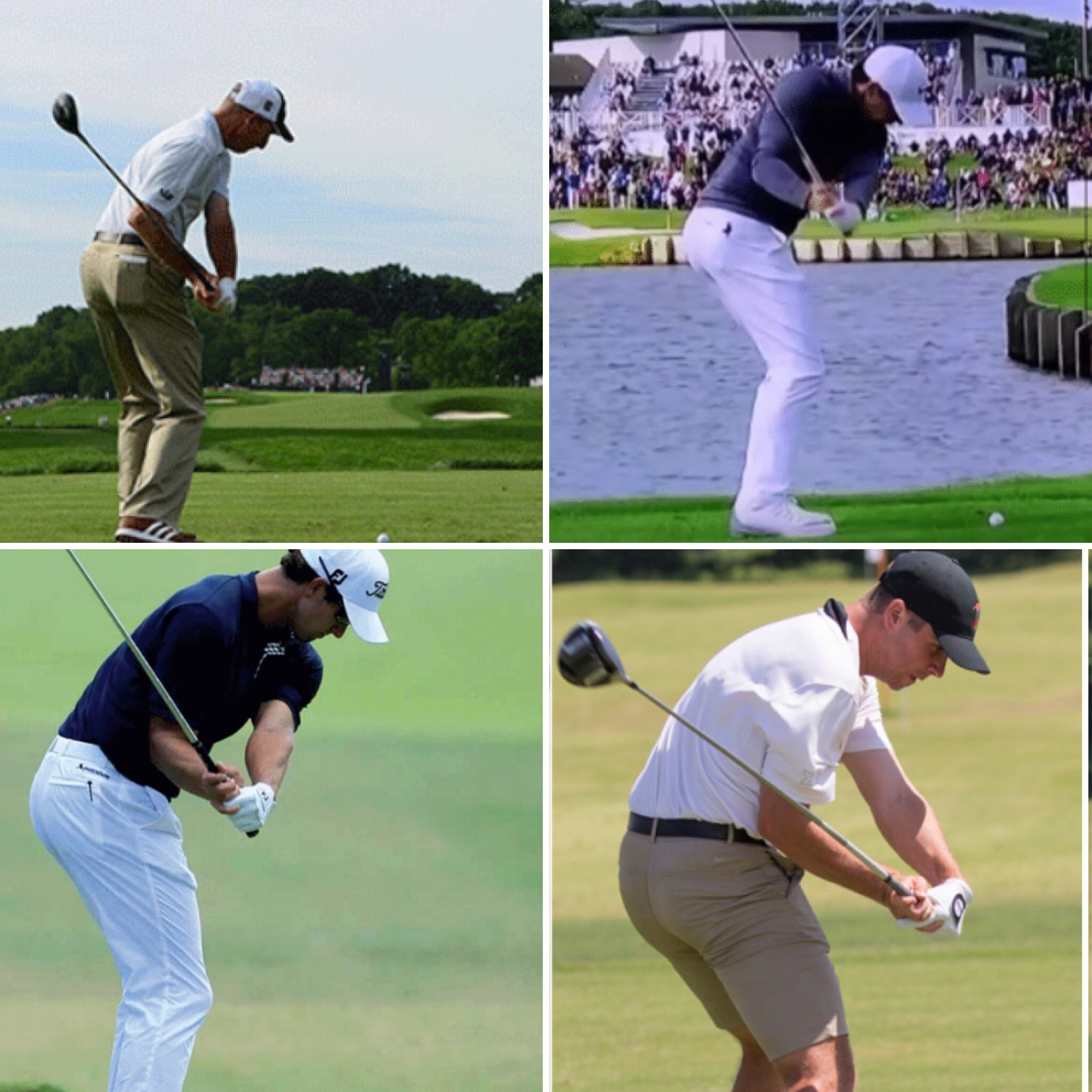 Examples of shallowing of various swing styles (Scott, Furyk, Els, McIllroy, Woods)