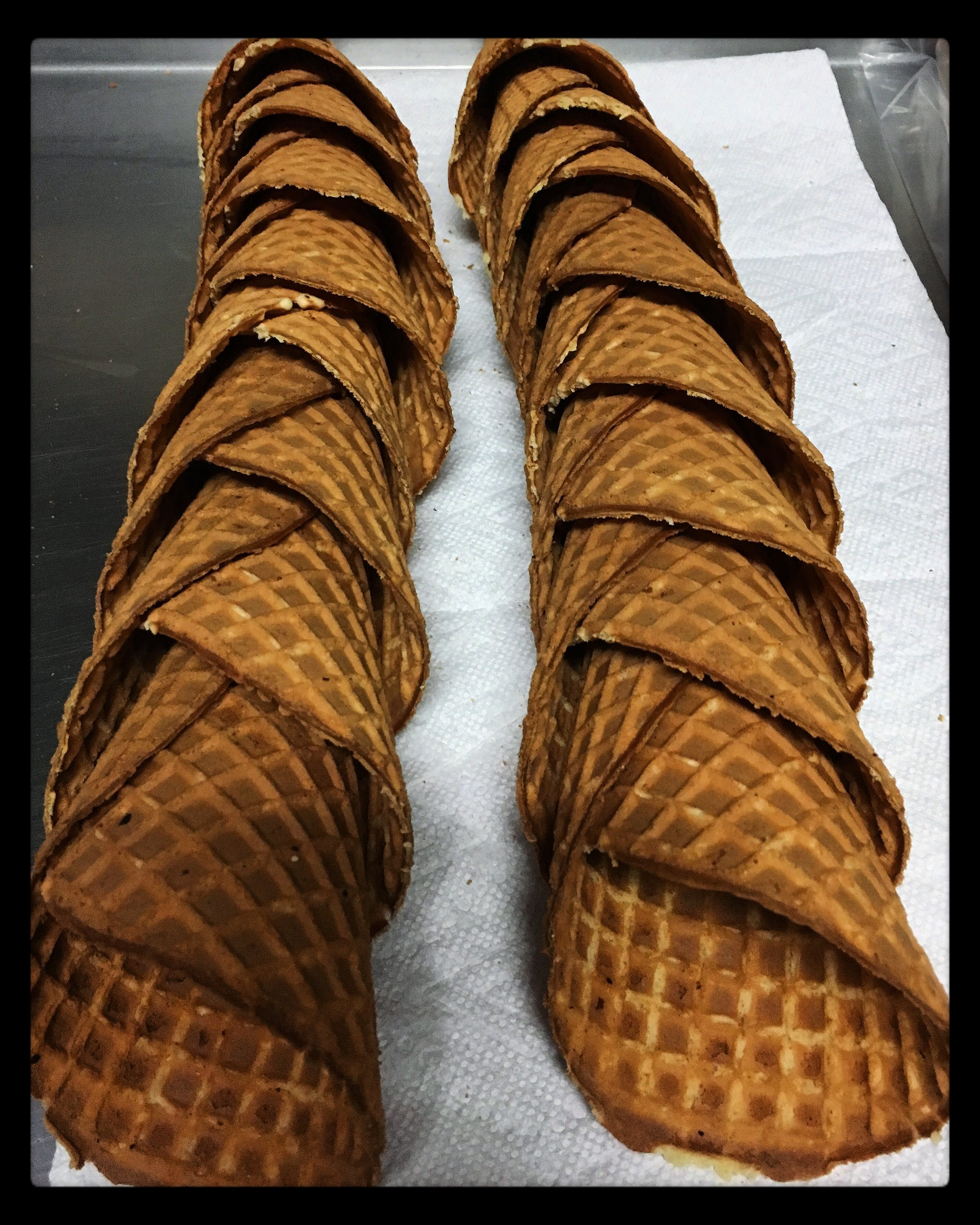 Store made waffle cones.