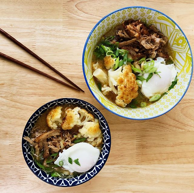 V3 of the Kahlua pork: Ramen. Homemade 12-hour Tonkotsu, garlic, arugula, scallions, onsen, and some roasted cauliflower for kicks. Fresh ramen noodles from Ebisuya. This pork is really the gift that keeps on giving #dinnerswithben