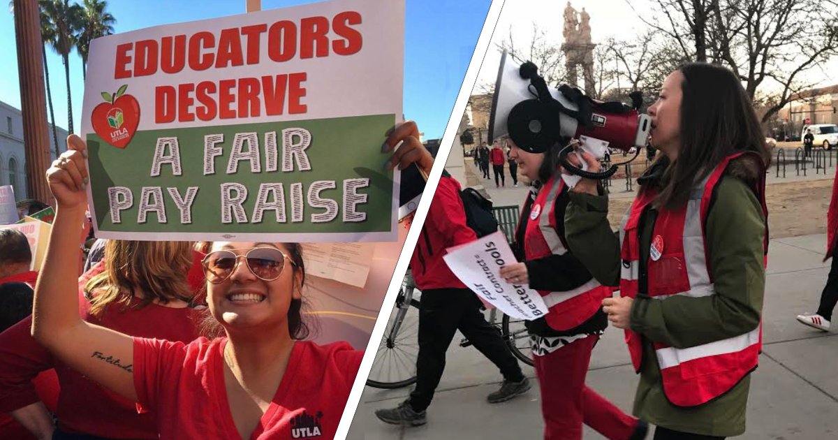Educators demanding fair pay and quality public education for students in Los Angeles (left) and Denver (right).