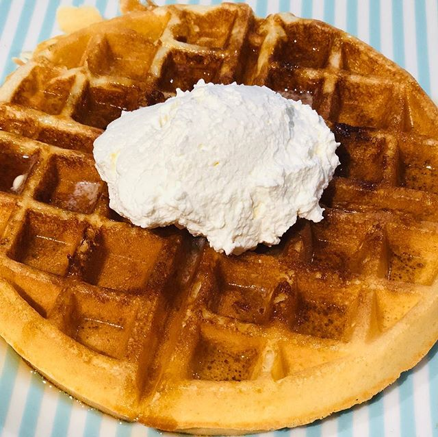 Whipped this up on a lazy #Sunday morning. There's no stopping a woman with a craving (and a toddler obsessed with breakfast food). Belgian waffles with homemade #vanilla whipped cream. #jewtalian #homemade #homecook #toddlerfood #belgianwaffles #breakfast #breakfastideas #breakfastallday
