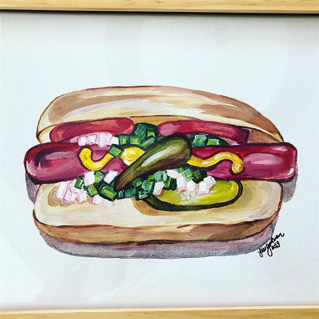 When your friends just get you and custom paint a piece of Chicago hotdog art for your new girl baby's nursery. #futurefoodie #chicago #chicagofoodie #chitownfoodie #jewtalian #chicagohotdog