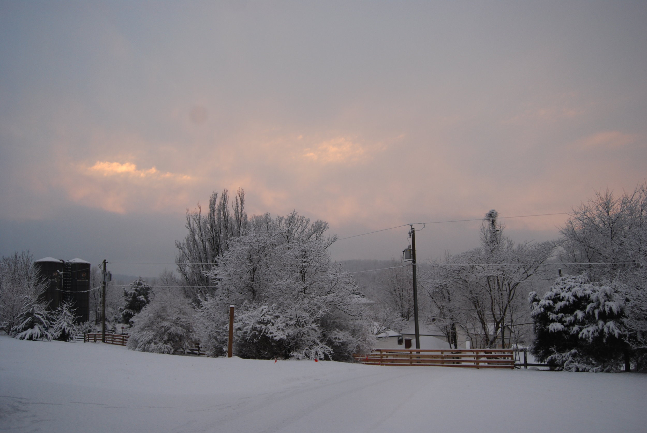 Thomson Farm in snow at dusk.JPG