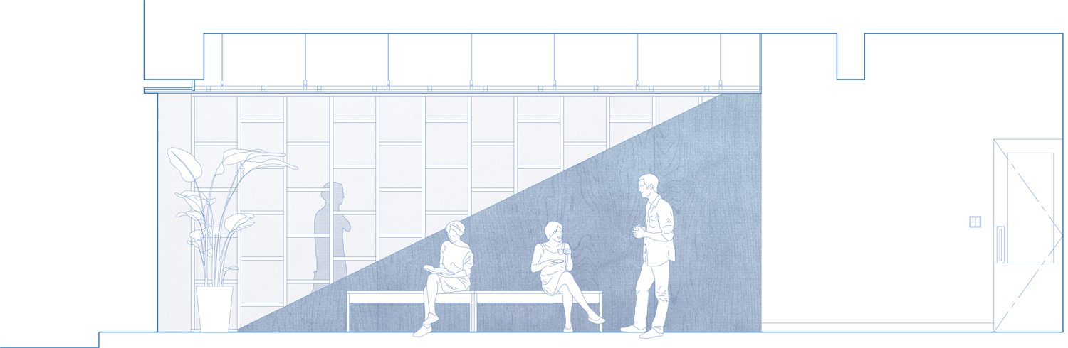 a partition wall dividing cafe and salon