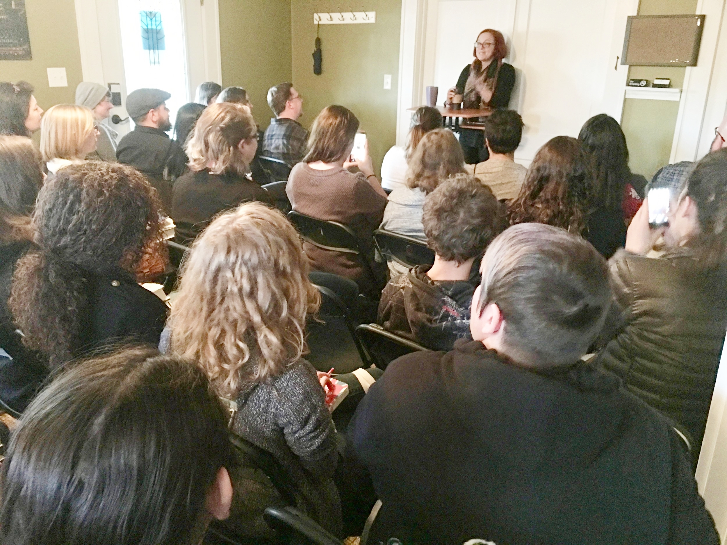 V.E. Schwab and fans at the FWR
