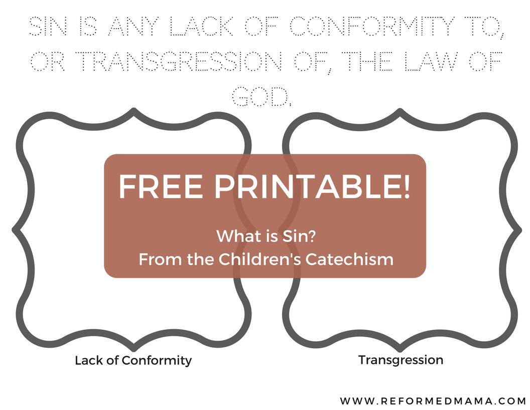 Free Printable Sin Children's Catechism