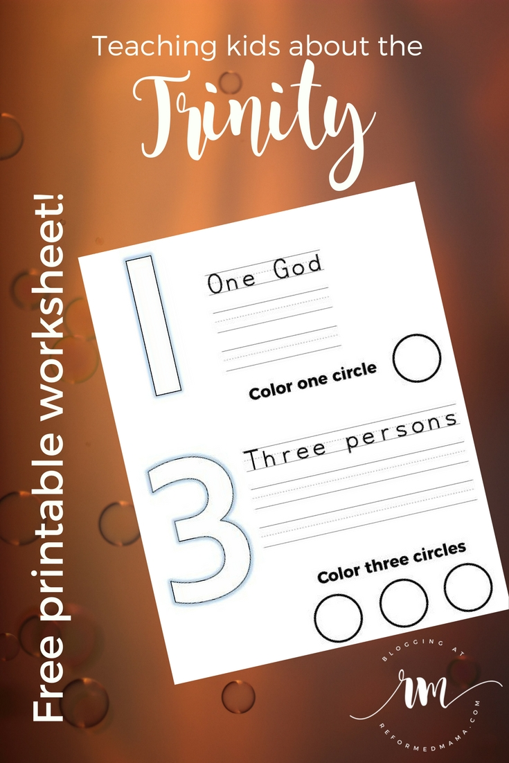 Teaching kids about the Trinity from the Children's Catechism, includes a free printable Trinity worksheet for young kids!