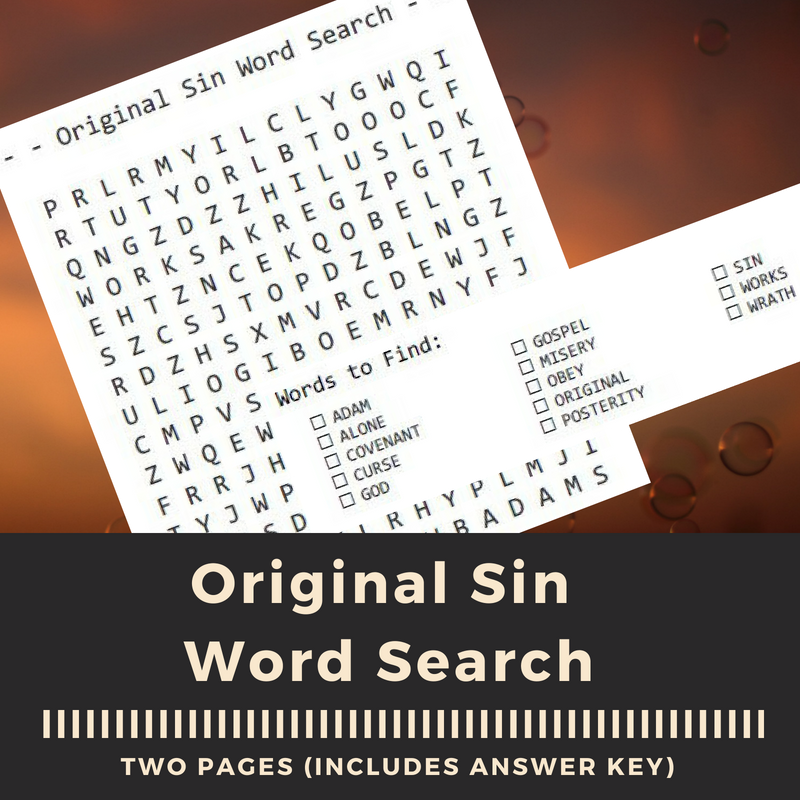Original Sin Word Search from Reformed Mama