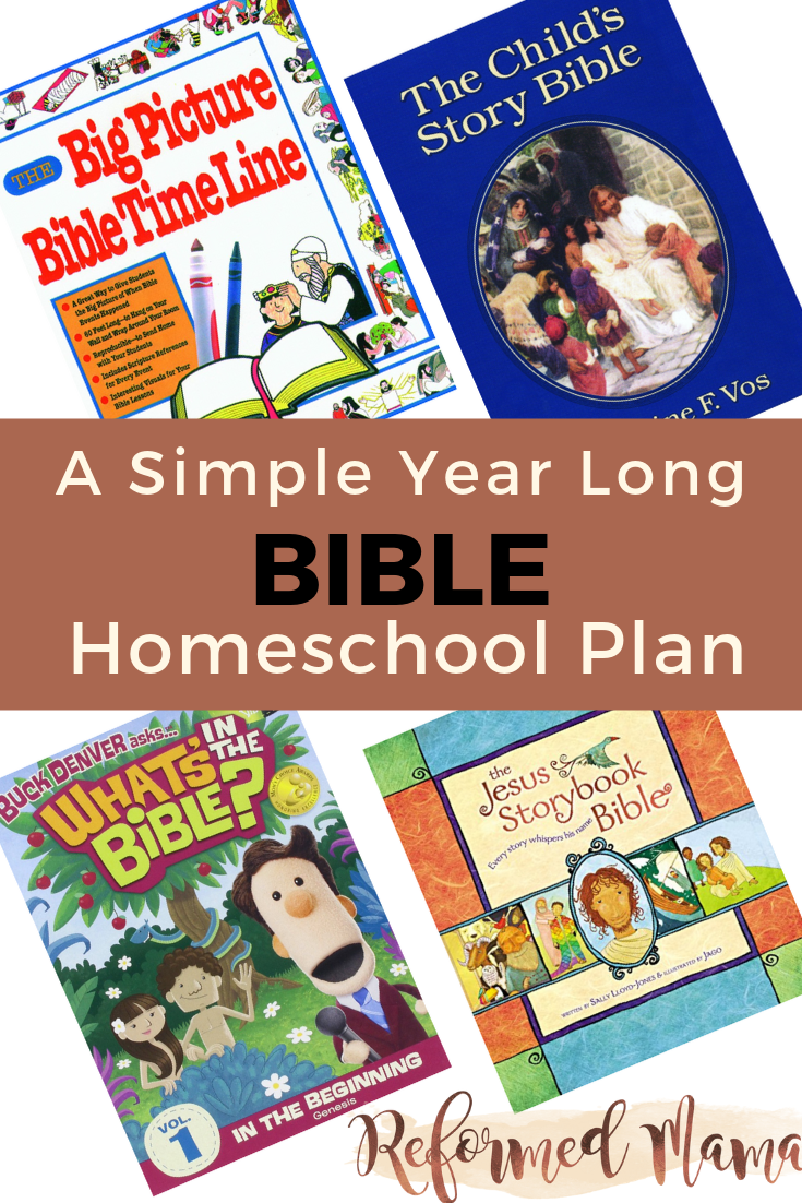 A simple year-long Bible Reading Plan using just four resources for Homeschooler Elementary! #homeschool #biblereading #bibleforkids