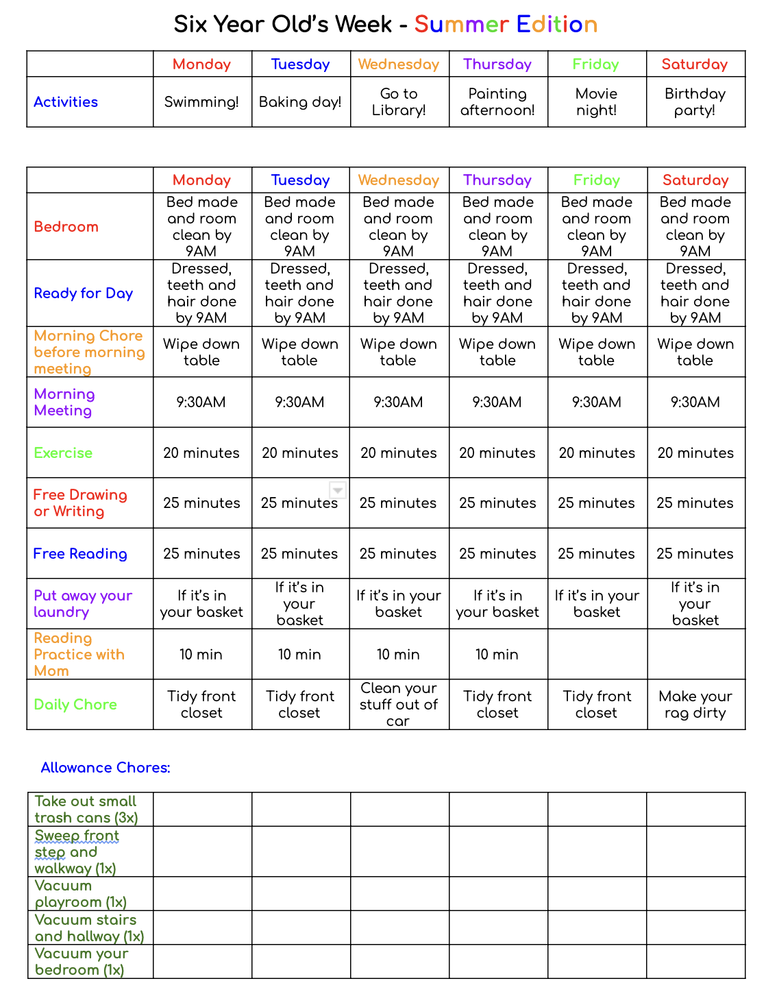 Reformed Mama Summer Weekly Schedule Example - Get your copy to edit for free and read all the explanations on the blog!