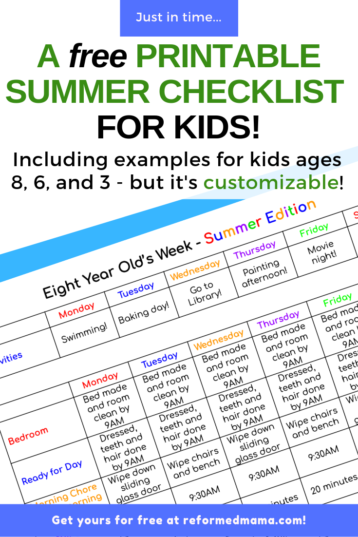 A Free Printable Summer Checklist for Kids! Includes examples for kids ages 8, 6, and 3. You can grab this Google Doc today, completely customize it for your family, print, and be on your way! Teach your kids responsibility and make sure important learning and chores take place even in the summer! #summer