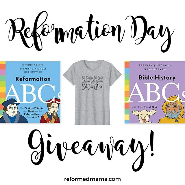 It's almost time for Reformation Day! I have a post on the blog with a TON of ideas on how to celebrate and use it to teach your kiddos!  To celebrate, I'm giving away a Five Solas shirt and TWO books!  (Thanks again@crosswayfor the books!)  Click the link in my profile (@reformedmama) to read the post and enter there!   #reformationday #reformedmama #reformedtheology #martinluther #presbyterian #theologyforkids