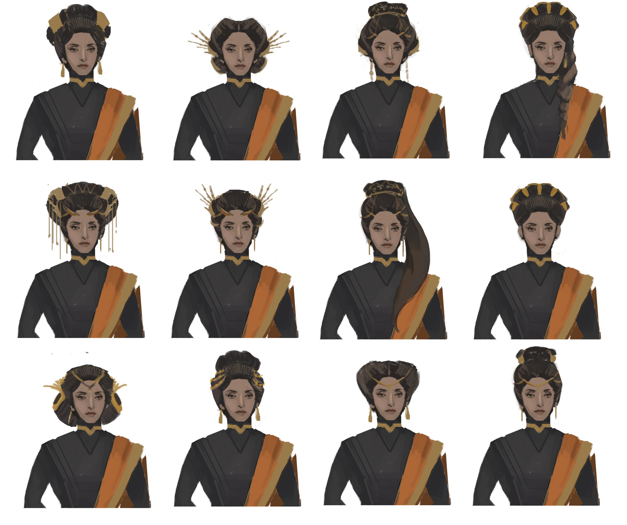 Hair design exploration after choosing a face type.