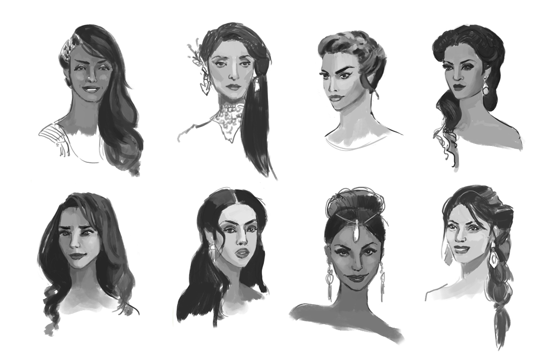 Initial rough head sketches for Lady Alexandria, exploring her personality.