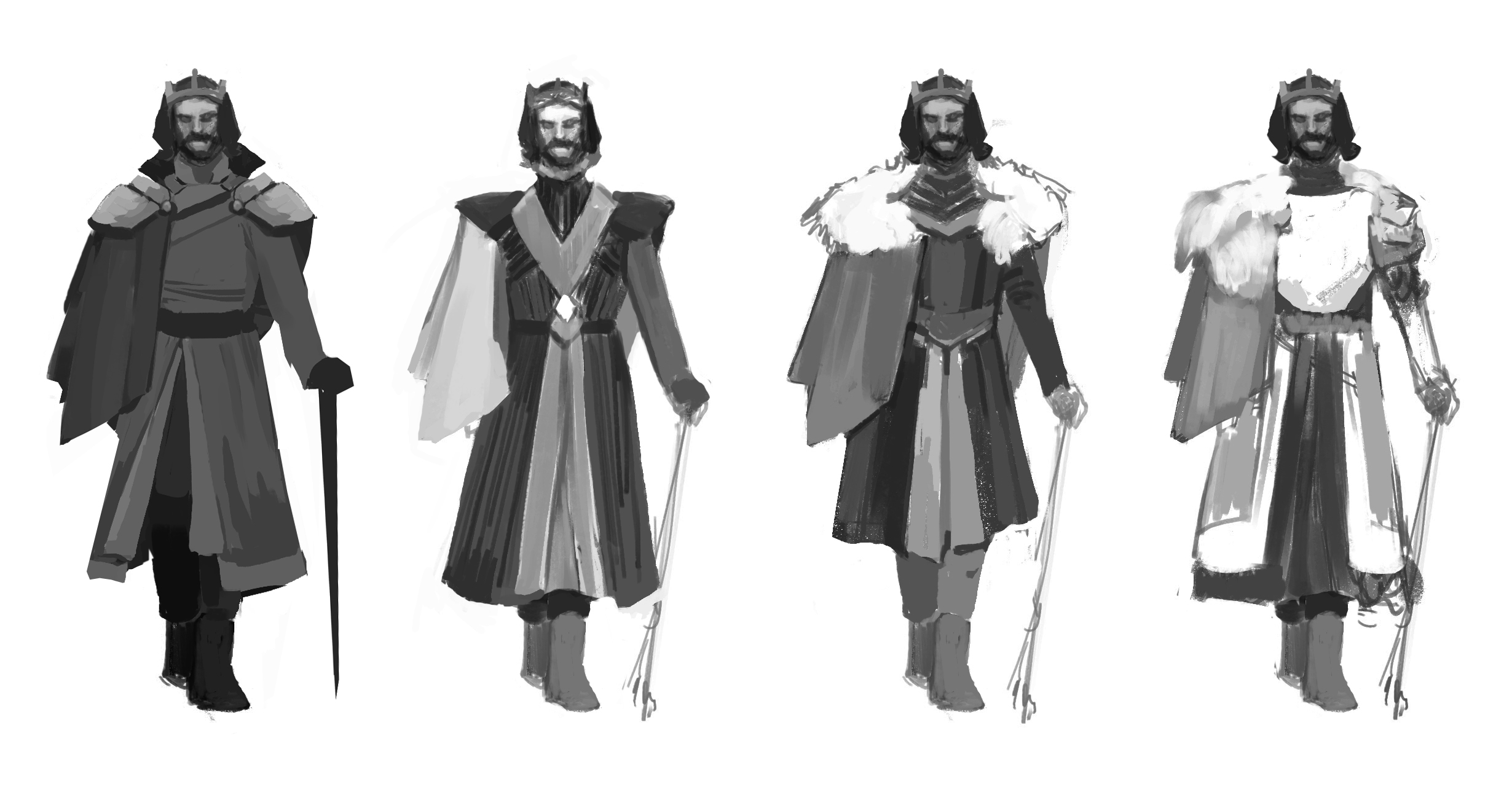 Initial silhouette exploration for first Lord.