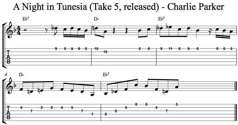 Charlie Parker Night in Tunesia Lick
