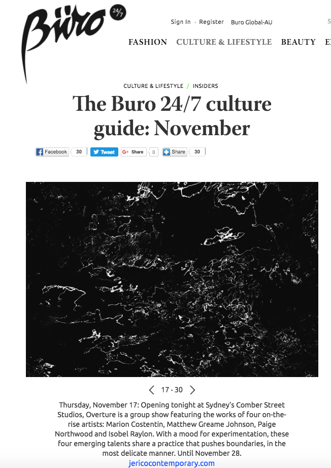 Overture Group Exhibition featured in Buro 24/7 Culture Guide (November, 2016)