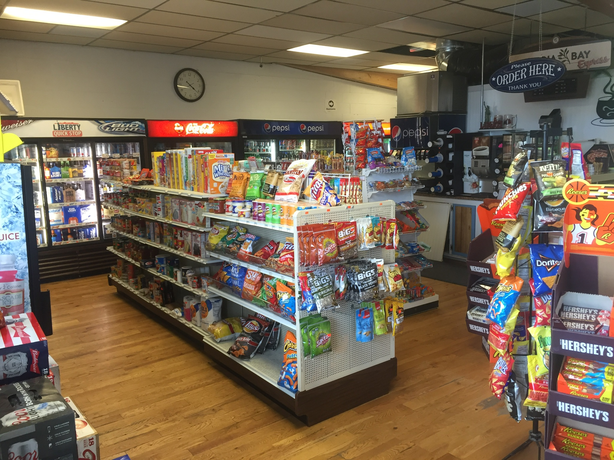 Drinks, Snacks, and essential grocery items are available at LIBERTY QUICK STOP