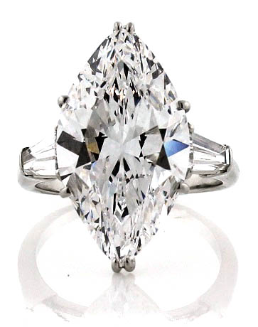 8.33ct Marquise diamond, internally flawless, perfect in every way. Circa 1957. The ring was owned by model and philanthropist, Eleanor Kidd.