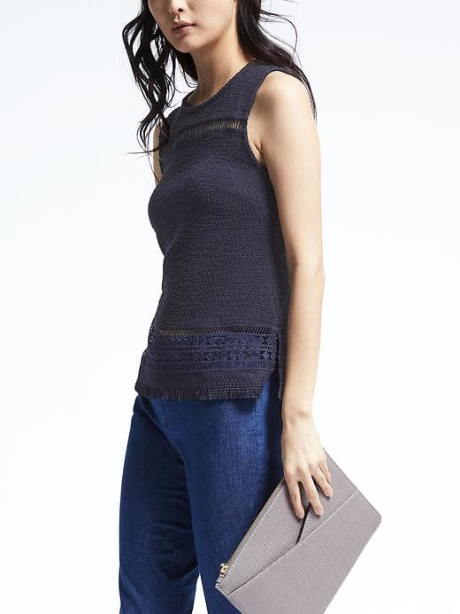 """<a href=""""http://bananarepublic.gap.com/browse/product.do?vid=1&pid=585885012"""">Banana Republic Boucle and Lace Top</a>, $58"""