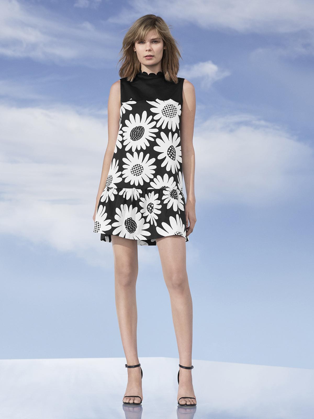 Black Daisy Drop Waist Scallop-Trim Dress, $40