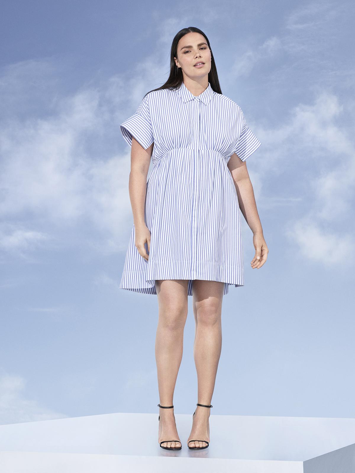 Blue Stripe Poplin Gathered Waist Dress, $35