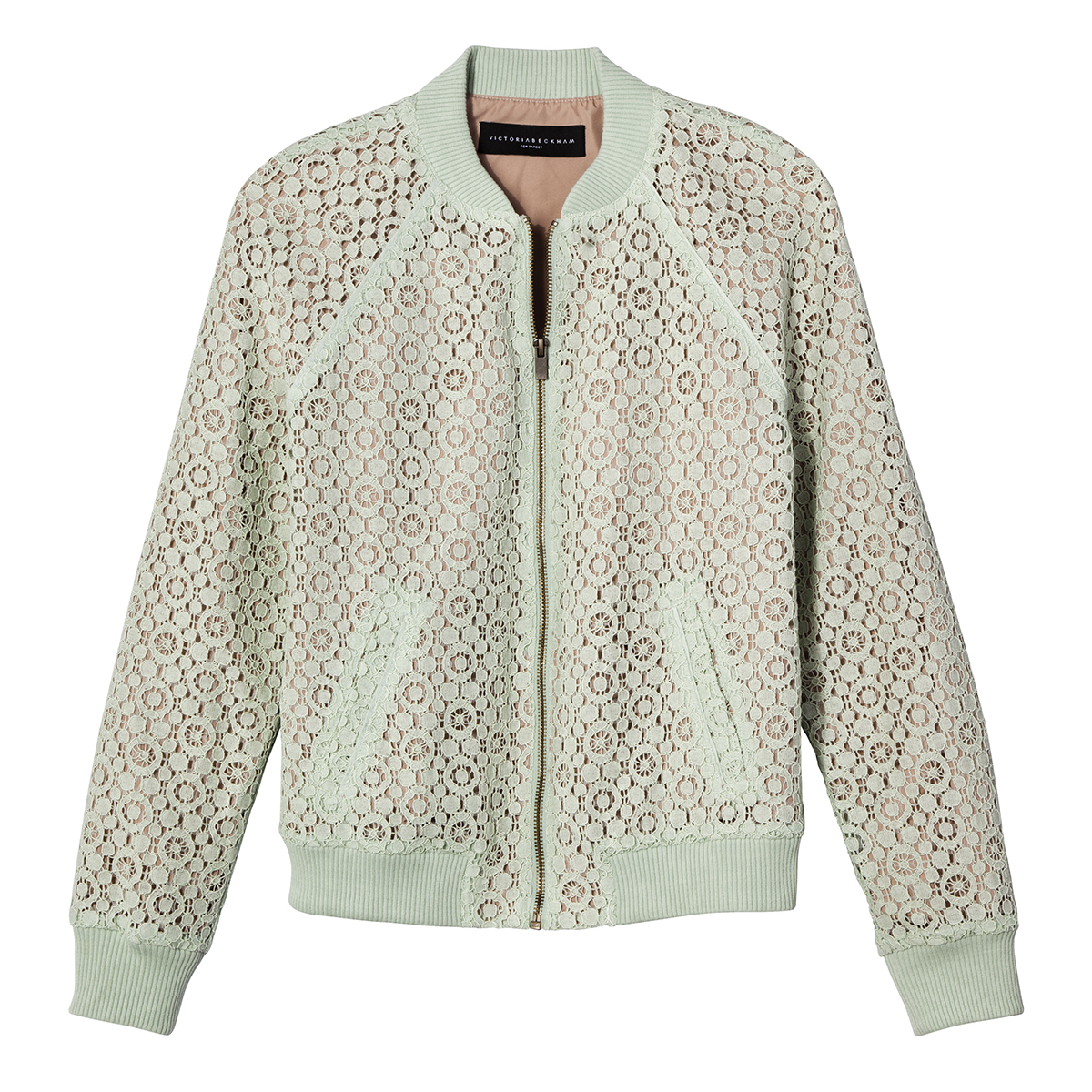 Mint Green Lace Bomber, $35
