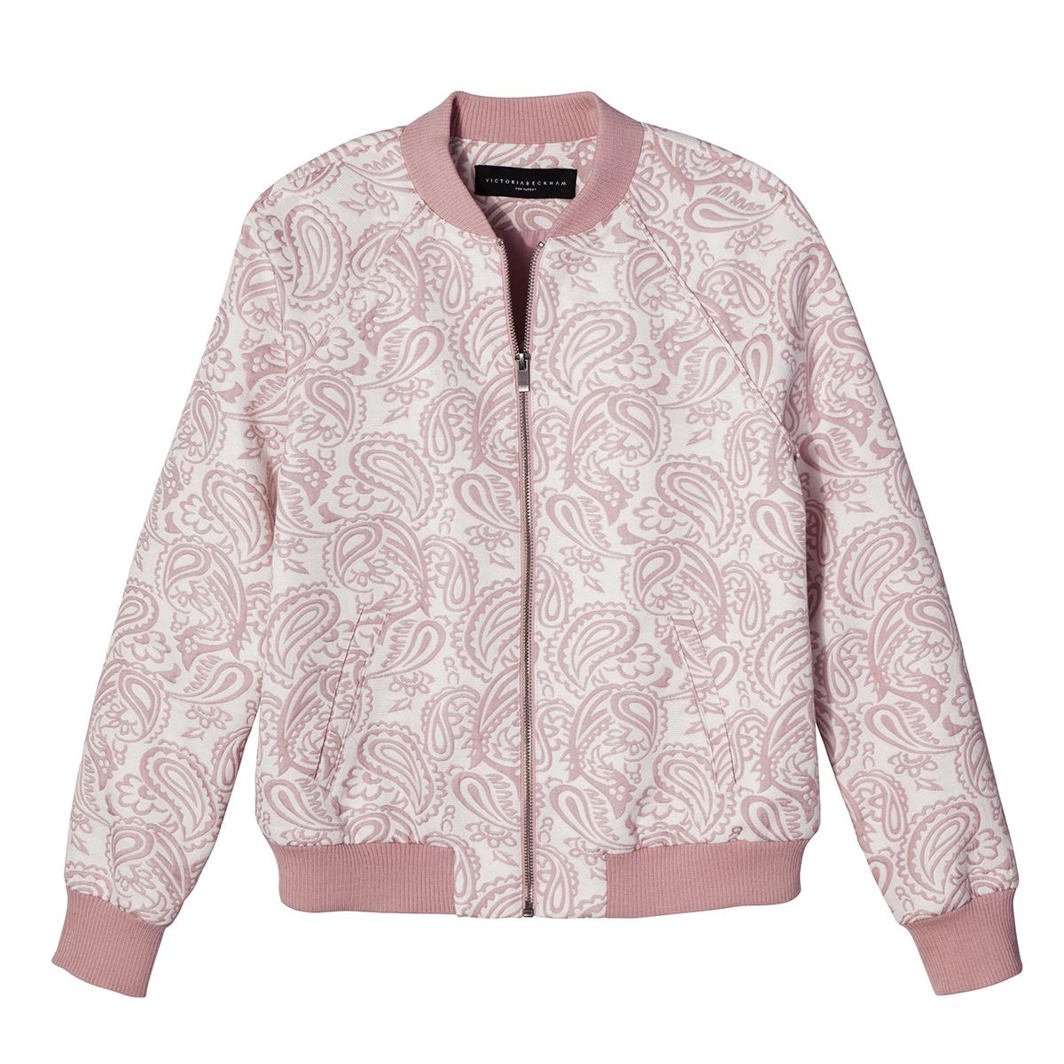 Blush Floral Jacquard Bomber Jacket, $35