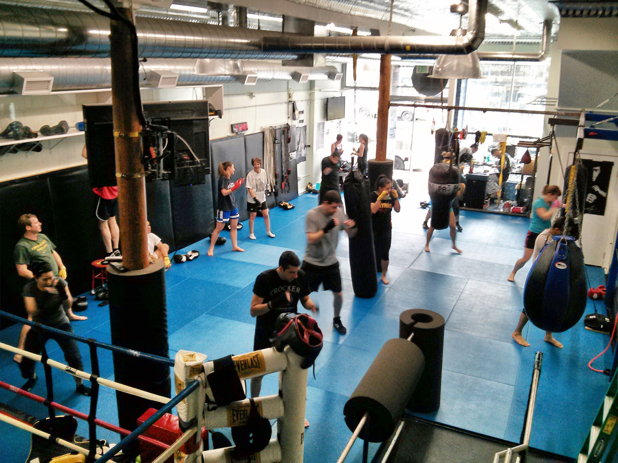 Hybrid Training SF.   Regulars rave about the boxing bootcamp at Hybrid. Instruction is top-notch, and the studio even offers a boxing yoga class. If you're interested in fighting beyond the ring, they also have a number of mixed martial arts classes.