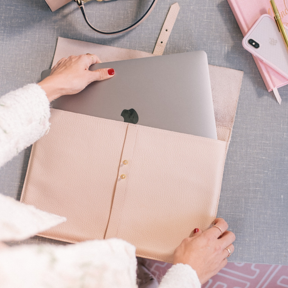 Cuyana Leather Laptop Sleeve, $125