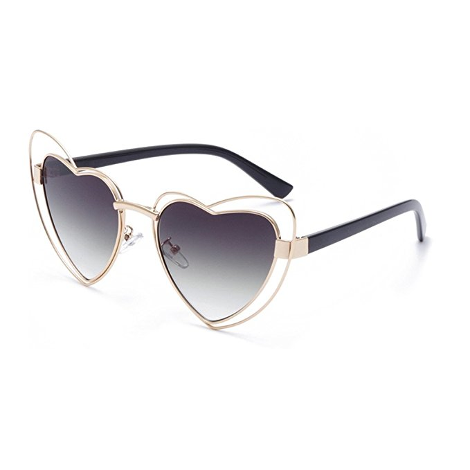 Double-Rimmed Wire Heart Sunglasses, $15