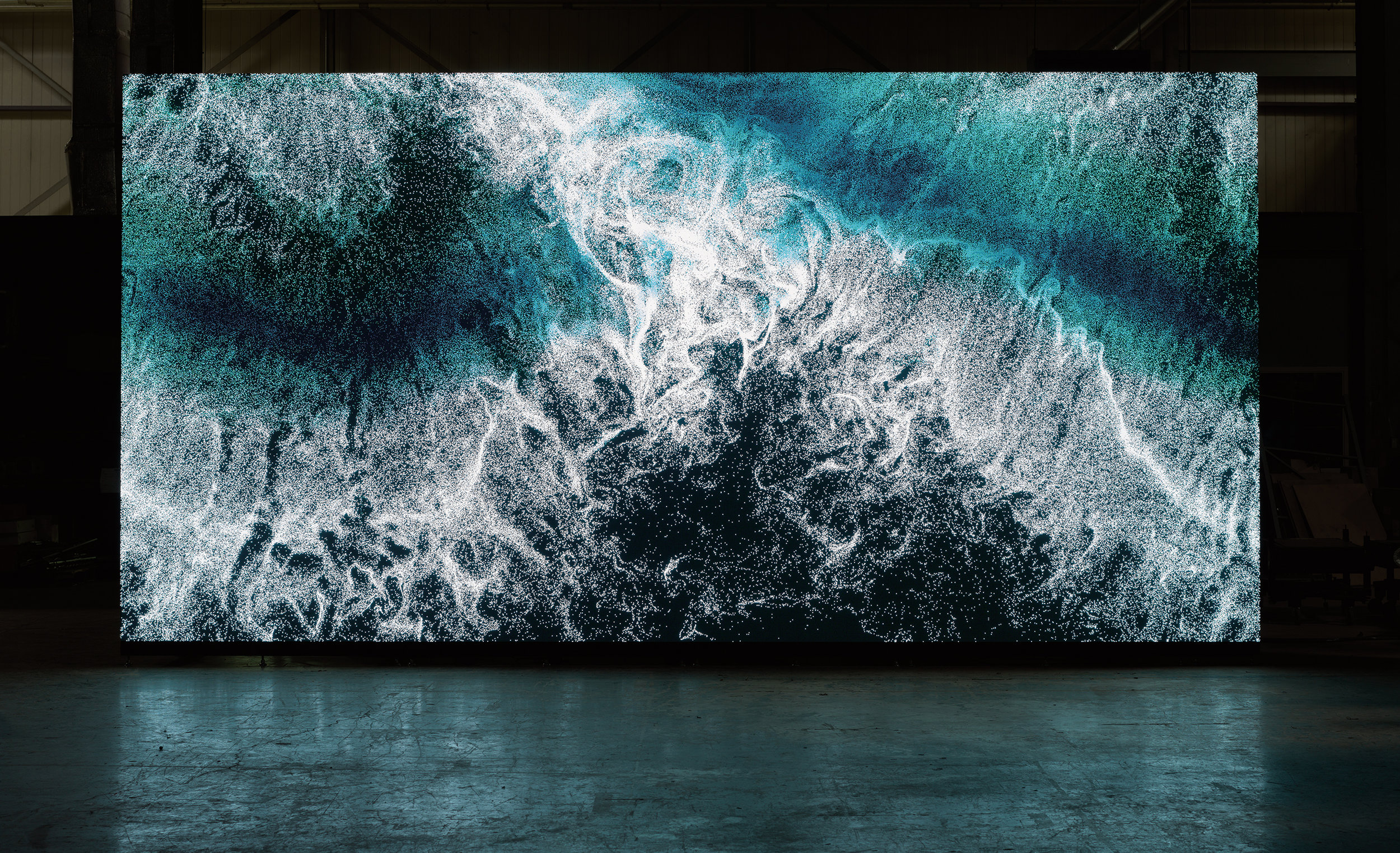"""Clifford Ross's """"Digital Wave 9"""" displayed on LED wall. Copyright Clifford Ross"""