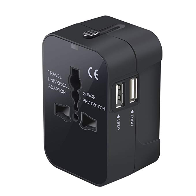 Multi-Country Outlet Adapter, $13 - It's every type of outlet for every country you'll visit, plus it has USB ports for charging smaller devices.