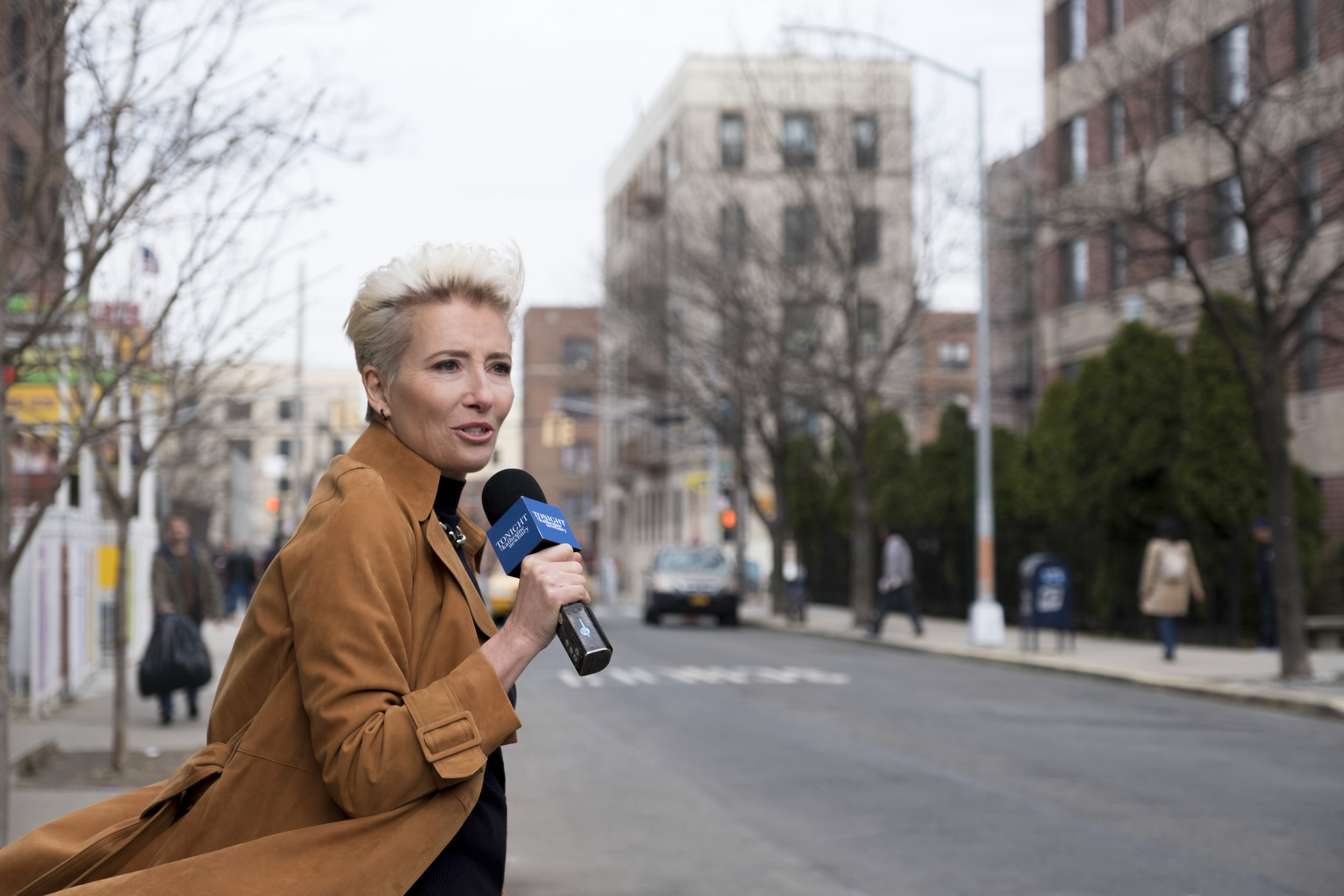 "Emma Thompson doing a ""man on the street"" bit. Credit: Emily Aragones, Courtesy of Amazon Studios"