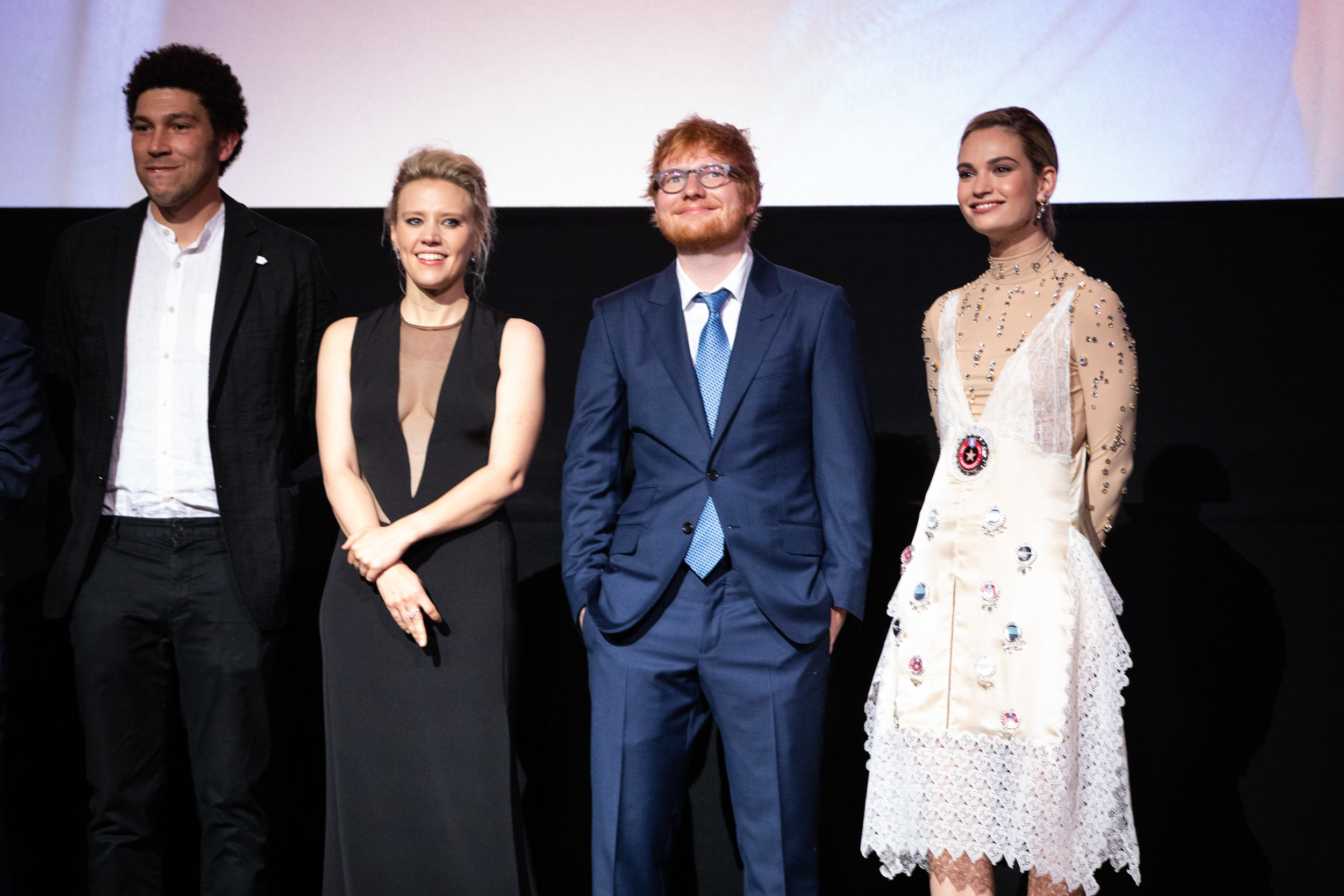 Joel Fry, Kate McKinnon, Ed Sheeran and Lily James at the London Premiere (Credit: James Gillham / StillMoving.net)