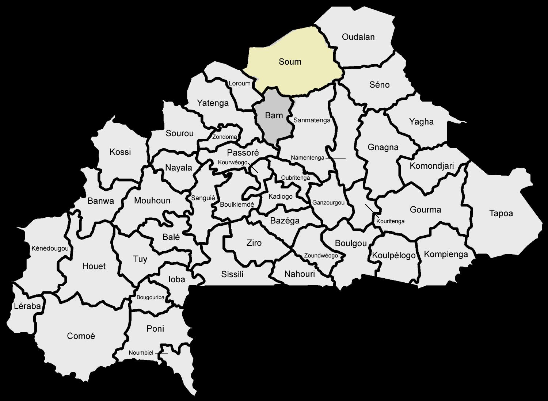 Provinsen Soum grenser til Bam som er provinsen hvor Skarpsno bygger skoler. Nord grenser Burkina Faso til Mali og Niger.