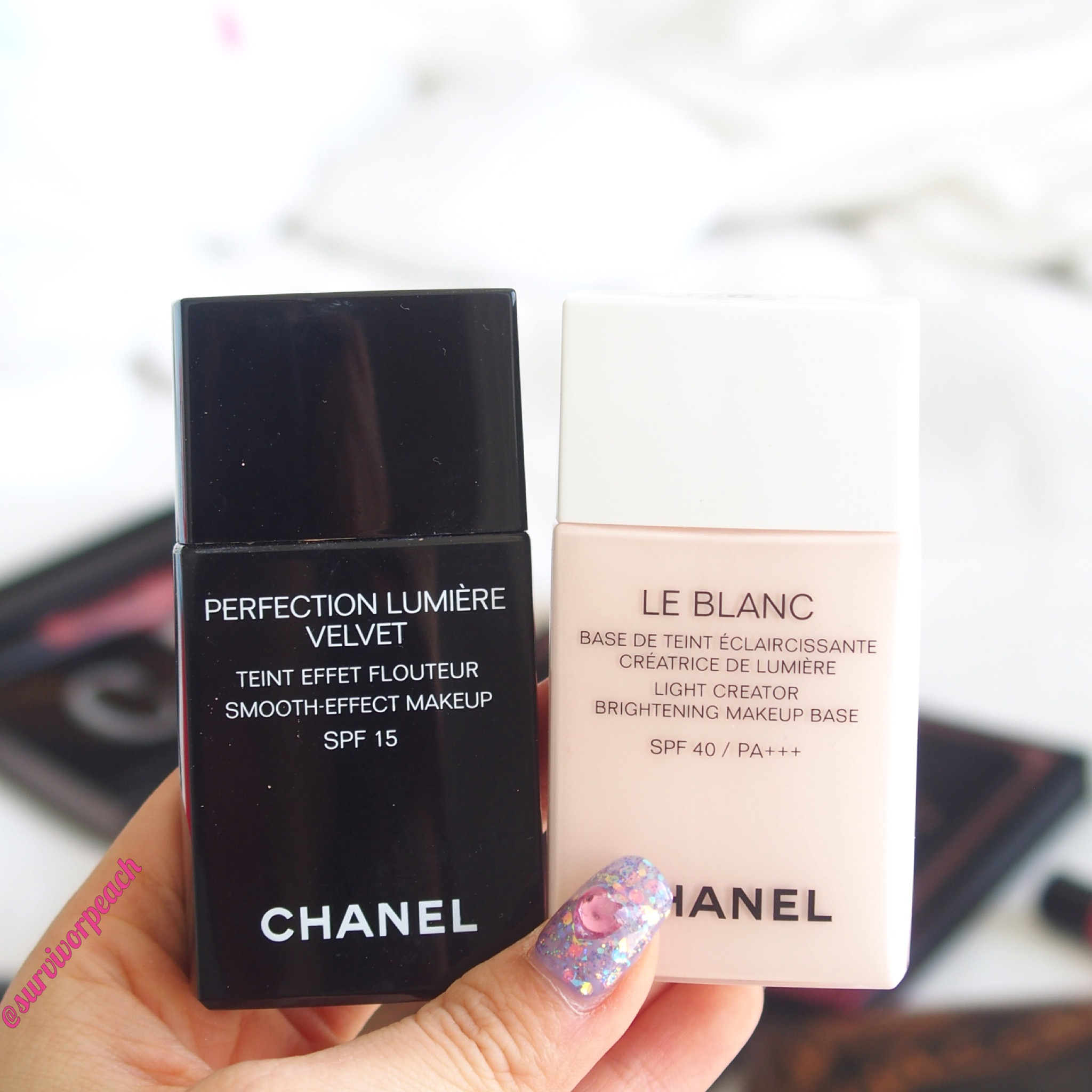 Chanel Perfection Lumeire Velvet foundation and Le Blanc base