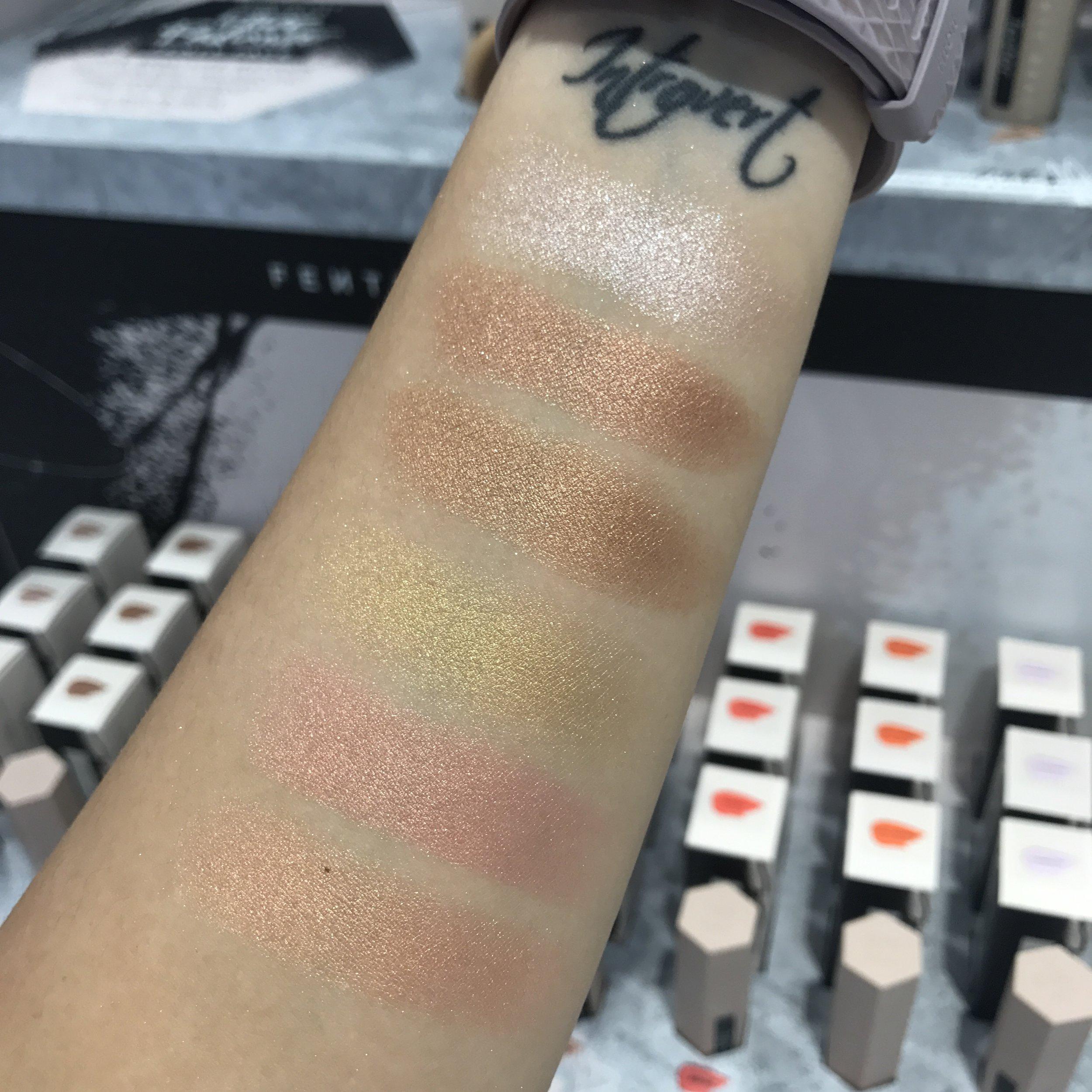 Fenty Beauty Shimmer Matchstix swatches