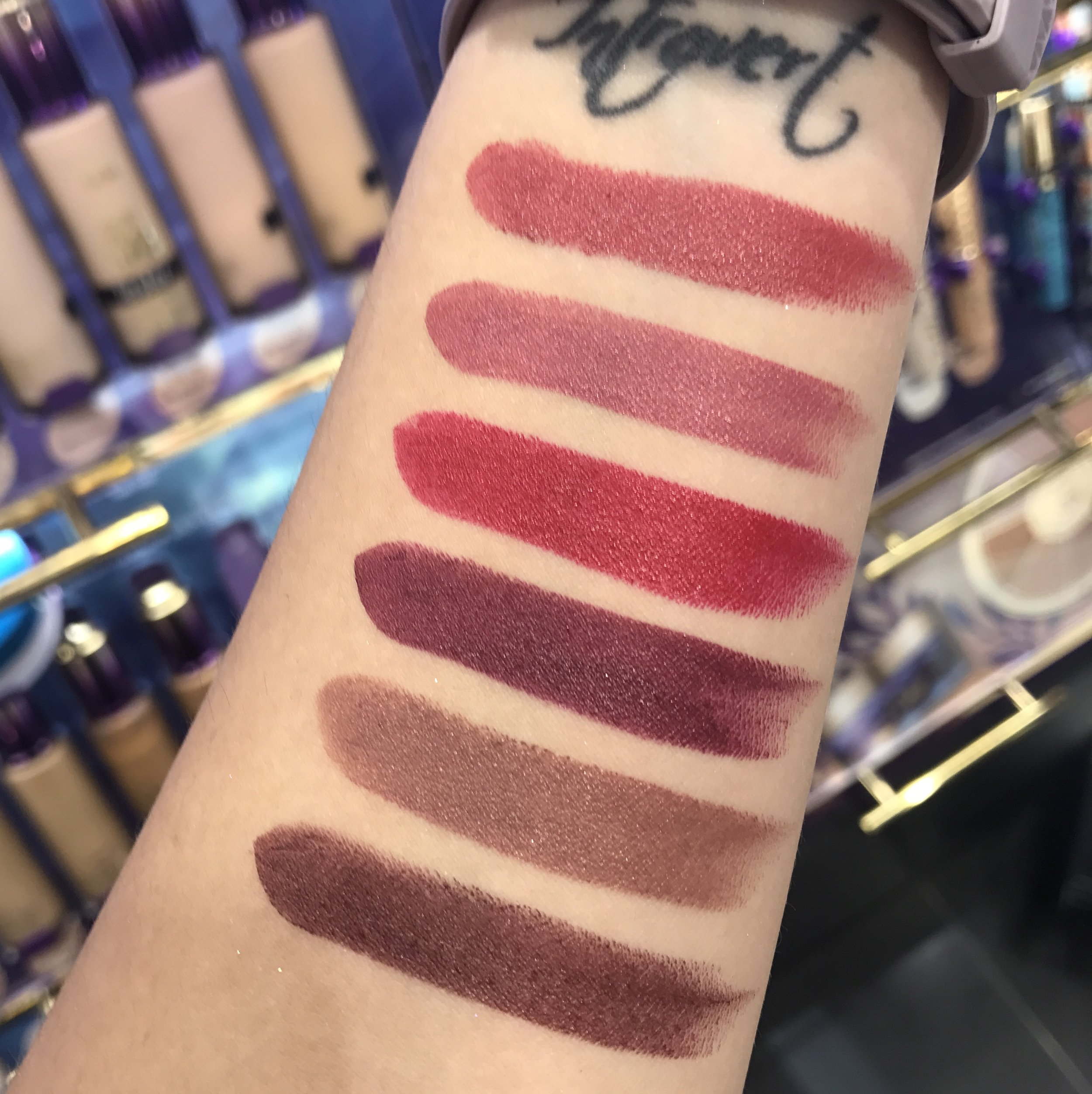 Swatches of the Tarte Color Splash Lipsticks